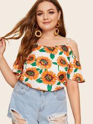 Plus Sunflower Print Cami Blouse