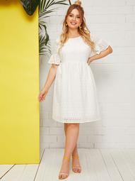Plus Flounce Sleeve Fit & Flare Schiffy Dress