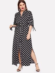 Plus Polka Dot Tie Cuff Dress