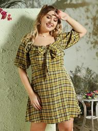 Plus Tie Front Plaid Dress