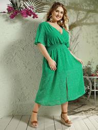 Plus Confetti Print Shirred Waist Surplice Dress
