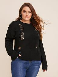 Plus Solid Ripped Detail Sweater