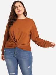 Plus Twist Front Crop Pullover
