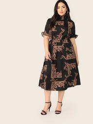 Plus Shirred Neck Scarf Print Dress