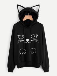 Plus Cat Print Drawstring Sweatshirt