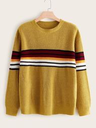 Plus Striped Panel Sweater