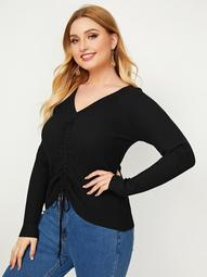 Plus Drawstring Front V Neck Sweater