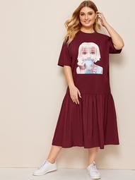 Plus Figure Graphic Ruffle Hem Tee Dress