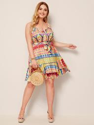 Plus Colorful Geo Print Ruffle Belted Slip Dress