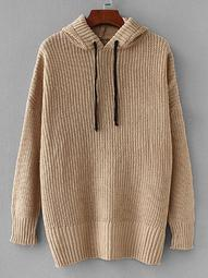Plus Solid Hooded Sweater