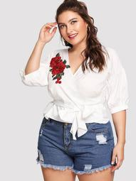 Plus Rose Embroidery Knot Front Top