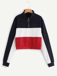 Plus Color Block Quarter Zip Sweatshirt
