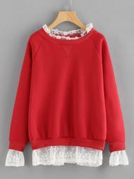 Plus Contrast Lace Raglan Sleeve Sweatshirt