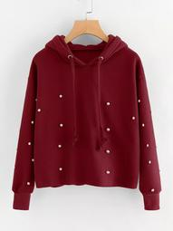 Plus Pearl Beaded Drawstring Hoodie Sweatshirt