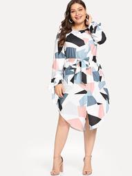 Plus Belted Geo Print Curved Hem Dress
