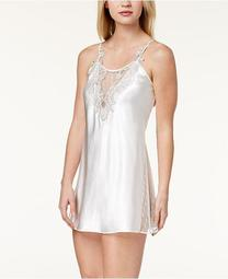 Stella Charmeuse Embroidered-Neckline Chemise Nightgown