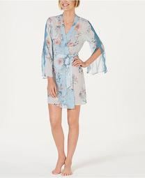 INC Printed Lace-Trim Chiffon Wrap Robe, Created for Macy's