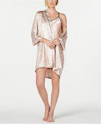Contrast-Trim Chemise Nightgown and Printed Wrap Robe Set