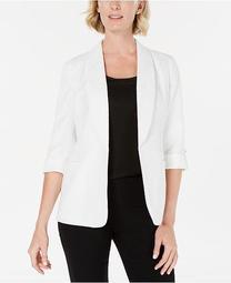 3/4-Sleeve Open-Front Blazer