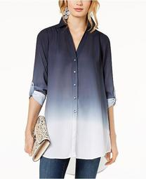 INC Dip-Dyed Button-Front Tunic, Created for Macy's