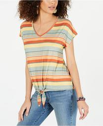 Striped Tie-Front T-Shirt, Created for Macy's