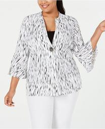Plus Size Textured Bell-Sleeve Jacket, Created for Macy's