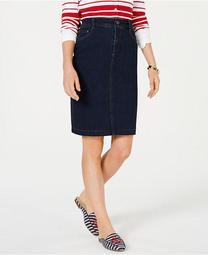 Petite Tummy-Control Denim Skirt, Created for Macy's