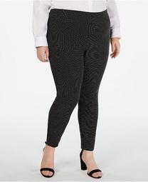INC Plus Size Jacquard-Dot Slim Pants, Created for Macy's