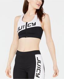 Colorblocked Zip-Front Sports Bra