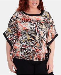 Plus Size Hemline-Smocked Printed Poncho Top