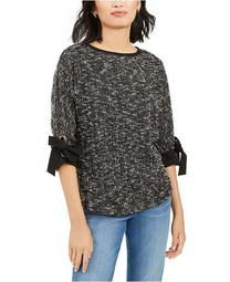 Petite Bow-Cuff Marled Top, Created for Macy's