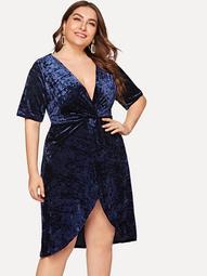 Plus Twist Detail Overlap Crushed Velvet Dress