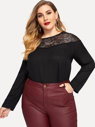 Plus Contrast Lace Tunic Top