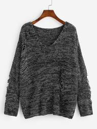 Plus Ripped Detail Marled Knit Sweater