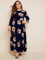 Plus Floral Print Fit & Flare Dress