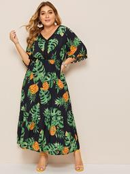 Plus Pom Pom Tropical Print Ruffle Hem Dress