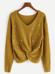 Plus Beaded Twist Detail Sweater