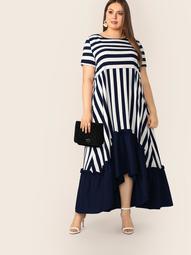 Plus Asymmetrical Flippy Hem Striped Dress