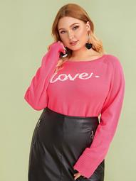 Plus Letter Print Raglan Sleeve Sweater