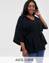 ASOS DESIGN Curve textured 3/4 sleeve oversized top with v neck and tie waist