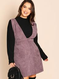 Plus Button & Pocket Front Sleeveless Dress