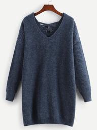 Plus V Neck Lace Up Back Sweater