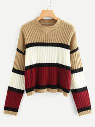 Plus Color Block Rib Knit Jumper
