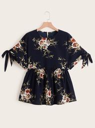 Plus Floral Print Tie Side Peplum Blouse