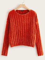 Plus Drop Shoulder Ribbed Velvet Sweater