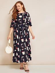 Plus Self Belted Geo Print Dress