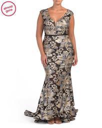 Plus Cap Sleeve V-neck Sequin Gown