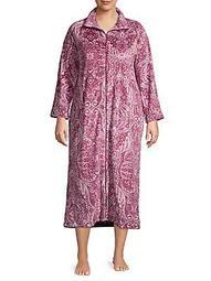Plus Paisley-Print Zip-Front Robe