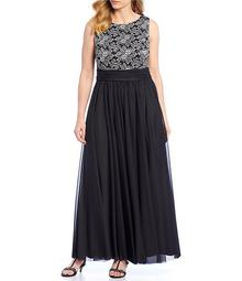 Plus Size Lace Bodice Ruched Waist Gown