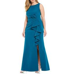 Plus Size Sleeveless Side Tuck Ruffle Front Slit Gown